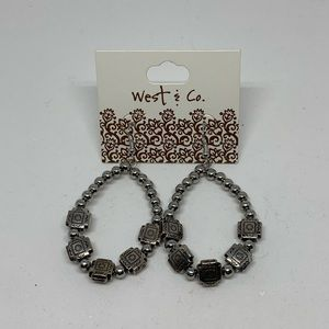 NWT western silver beaded earrings